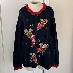 Reindeer ugly Christmas sweater shaver lake